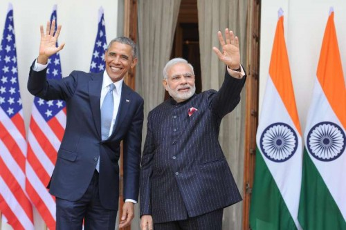 The Prime Minister, Shri Narendra Modi with the US President, Mr. Barack Obama, at Hyderabad House, in New Delhi on January 25, 2015.