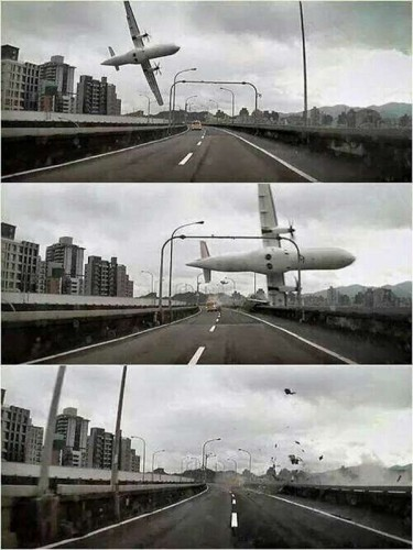 TAIPEI, Feb. 4, 2015 (Xinhua) -- Combined photos taken by an automobile data recorder shows an airplane crashes over a bridge in Taipei, southeast China's Taiwan, Feb. 4, 2015. A plane of the Taiwan TransAsia Airways came down into a Taipei river Wednesday, with more than 50 people on board, confirmed the civil aviation authorities of Taiwan. Contact with the ATR-72 Flight, scheduled from Taipei to Kinmen, lost at about 11 a.m. Then the plane was found in the river by the Nanhu Bridge. (Xinhua/IANS)