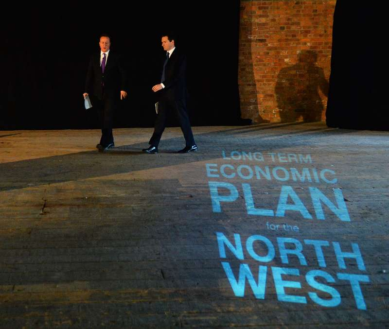 Prime Minister David Cameron with Chancellor George Osborne in Manchester