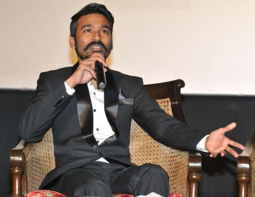 Actor Dhanush during a promotional event of his upcoming film `Shamitabh` in New Delhi on Feb. 2, 2015.