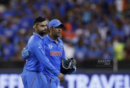 Indian cricketers Virat Kohli and M S Dhoni during an ICC World Cup 2015 match