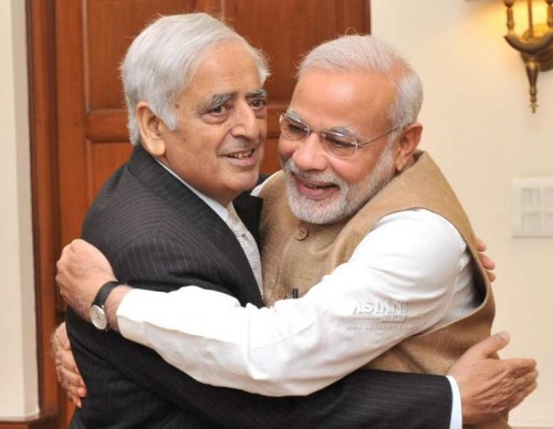 Peoples Democratic Party (PDP) patron Mufti Mohammad Sayeed calls on Prime Minister Narendra Modi in New Delhi, on Feb 27, 2015.
