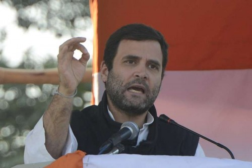 Congress vice president Rahul Gandhi addressing an election rally in New Delhi.