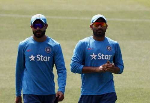 Indian cricketers Ravindra Jadeja and Mohammed Shami during an ICC World Cup practice session at Adelaide Oval in Adelaide, Australia on Feb 14, 2015.