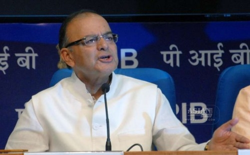 The Union Minister for Finance, Corporate Affairs and Information and Broadcasting Arun Jaitley addresses a press conference, in New Delhi