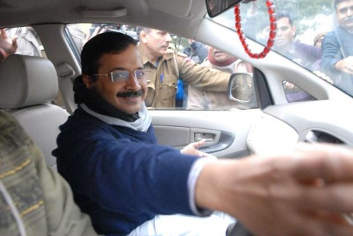 Aam Aadmi Party (AAP) leader Arvind Kejriwal proceeds to file his nomination papers for upcoming Delhi Assembly Polls in New Delhi.