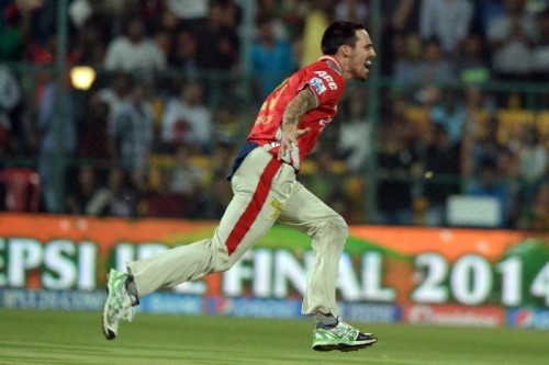 Mitchell Johnson celebrates fall of a wicket during the final match of IPL 2014 between Kings XI Punjab and Kolkata Knight Riders at M Chinnaswamy Stadium in Bangalore