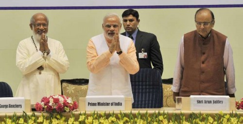 Prime Minister Narendra Modi at programme organised to celebrate the Elevation to Sainthood of Kuriakose Elias Chavara and Mother Euphrasia, in New Delhi on Feb 17, 2015. Also seen Union Minister for Finance, Corporate Affairs and Information and Broadcasting Arun Jaitley.