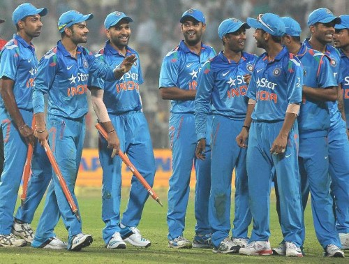 Indian players celebrate after winning the 4th ODI between India and Sri Lanka at the Eden Gardens in Kolkata