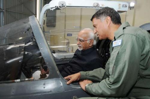 Vice-President Mohammad Hamid Ansari visits the hangar of Hindustan Aeronautics Limited in Bengaluru on Jan 7, 2015.