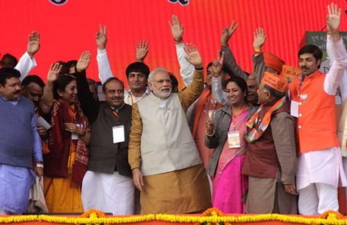 Prime Minister Narendra Modi during a election rally in Rohini, New Delhi on Feb. 3, 2015.