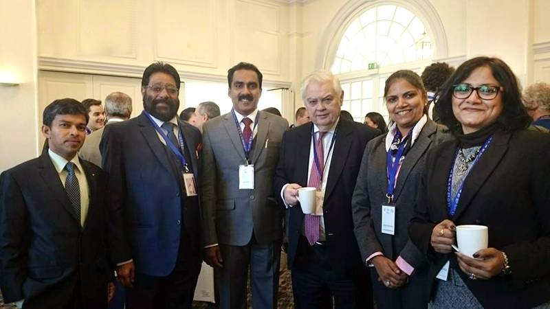 Lord Lamont, former Chancellor to the Exchequer, with the delegation from Aluva - Pramod Kumar (Regional Town Planner, Cochin), MT Jacob, Municipal Chairman (Aluva); Anwar Sadath, MLA (Aluva); Jebi mather Hisham, Councillor, Aluva, and Vidya Soundarrajan (British High Commission, Chennai)