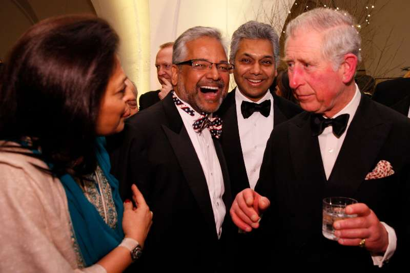 Prince Charles at British Asian Trust's charity dinner at Banqueting House, Whitehall Palace, Whitehall