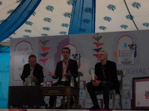 "Historian Peter Frankopan (centre), author of ""The First Crusade: The Call From the East"", at the Jaipur LitFest 2015"