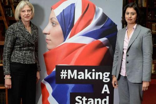 Home Secretary Theresa may and Sara Khan launch the #makingastand-British Muslim Women New Campaign Against ISIS at Rusia, London.