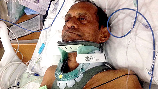 Sureshbhai Patel on the hospital bed after the brutal attack by police officers in Alabama. Photo Credit: Hindustan Times