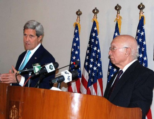 U.S. Secretary of State John Kerry  attends a joint press conference with Pakistani Adviser to the Prime Minister on National Security and Foreign Affairs Sartaj Aziz in Islamabad, capital of Pakistan. The U.S. Secretary of State, John Kerry, Tuesday called for action against all militant groups including the Afghan Taliban, the Haqqani Network and the Lashkar- e-Tayyeba.