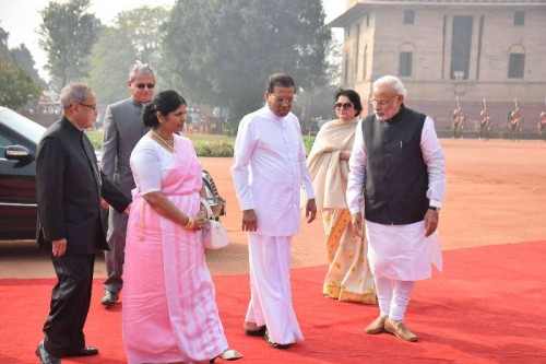 President Pranab Mukherjee, Prime Minister Narendra Modi receives Sri Lankan President Maithripala Sirisena and First Lady Jayanthi Sirisena during a ceremonial reception at Rashtrapati Bhavan, New Delhi on Feb. 16, 2015.