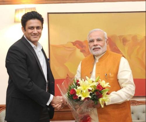 Former cricketer Anil Kumble calls on Prime Minister Narendra Modi in New Delhi