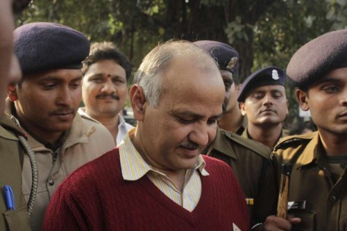 Aam Aadmi Party (AAP) leader Manish Sisodia comes out after meeting Union Home Minister Rajnath Singh in New Delhi, on Feb 11, 2015.