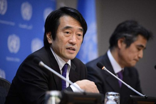 Yasuhisa Kawamura press secretary of Japan's Ministry of Foreign Affairs, speaks during a press conference at the UN headquarters in New York, on Feb. 5, 2015. Despite recent slayings of two Japanese citizens by Islamic State (IS) militants, Tokyo does not intend to abandon its post-World War II pacifism and chooses instead to increase its non-military humanitarian assistance to the Middle East, the chief spokesman for Japan's foreign ministry said