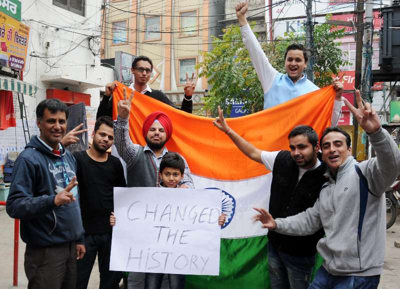 Amritsar: Fans celebrate after India defeated South Africa in an ICC World Cup 2015 match played at Melbourne Cricket Ground, in Amritsar on Feb 22, 2015. (Photo: IANS)
