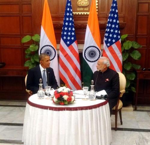 """Prime Minister, Narendra Modi and the US President, Barack Obama recording the special Radio address of """"Mann ki Baat"""", in New Delhi on Jan. 27, 2015."""