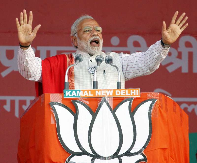 Prime Minister Narendra Modi addresses a rally in Delhi