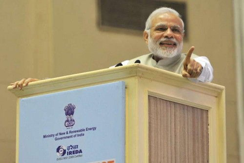 Prime Minister Narendra Modi addresses at the `Re-Invest 2015: India is graduating from Megawatts to Gigawatts in Renewable Energy production`, in New Delhi on February 15, 2015.