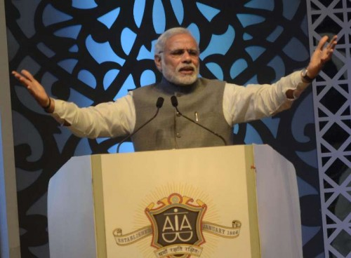 Prime Minister Narendra Modi addresses at the Sesquicentennial function of Advocates' Association of Western India, in Mumbai, Maharashtra on Feb 14, 2015.