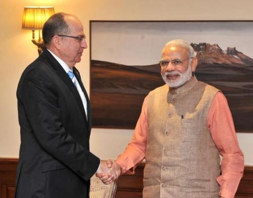 The Defence Minister of Israel Moshe Ya'alon calls on the Prime Minister Narendra Modi, in New Delhi on Feb 19, 2015.