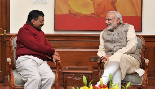The Delhi Chief Minister-designate, Shri Arvind Kejriwal calls on the Prime Minister, Shri Narendra Modi, in New Delhi on February 12, 2015.