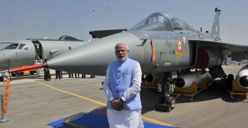 The Prime Minister, Shri Narendra Modi at the Aero India-2015 Air Show, at Yelahanka Air-force Station, in Bengaluru on February 18, 2015.