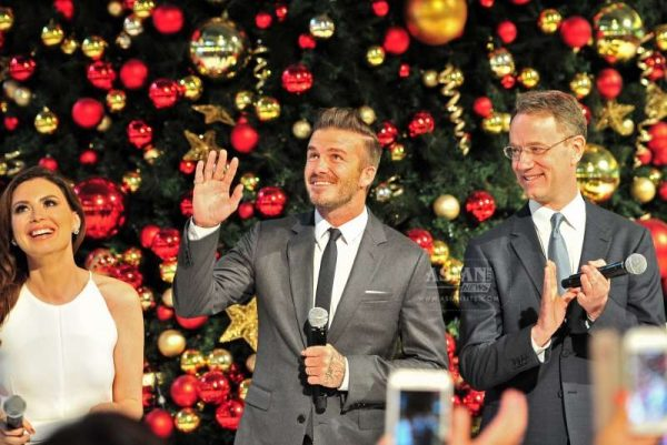 Former England soccer player David Beckham attends the Christmas light-up ceremony in Singapore's Marina Bay Sands, Nov. 15, 2014