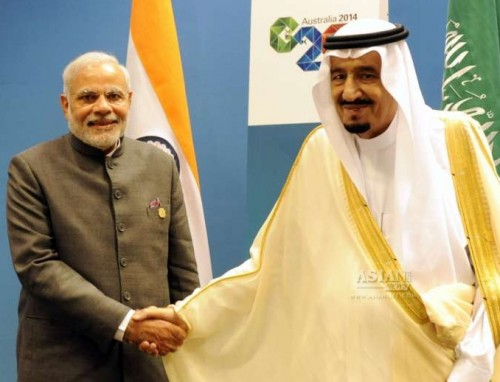 Prime Minister, Narendra Modi meets the Crown Prince and the Deputy Prime Minister of Saudi Arabia, His Royal Highness Salman Bin Abdulaziz Al Saud, in Brisbane, Australia on Nov 16, 2014.