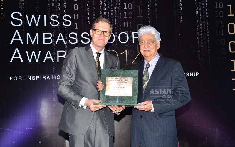 Wipro Chairman Azim Premji receives the Swiss Ambassadors Award from Swiss Ambassador to India Dr. Linus von Castelmur in Mumbai (File)