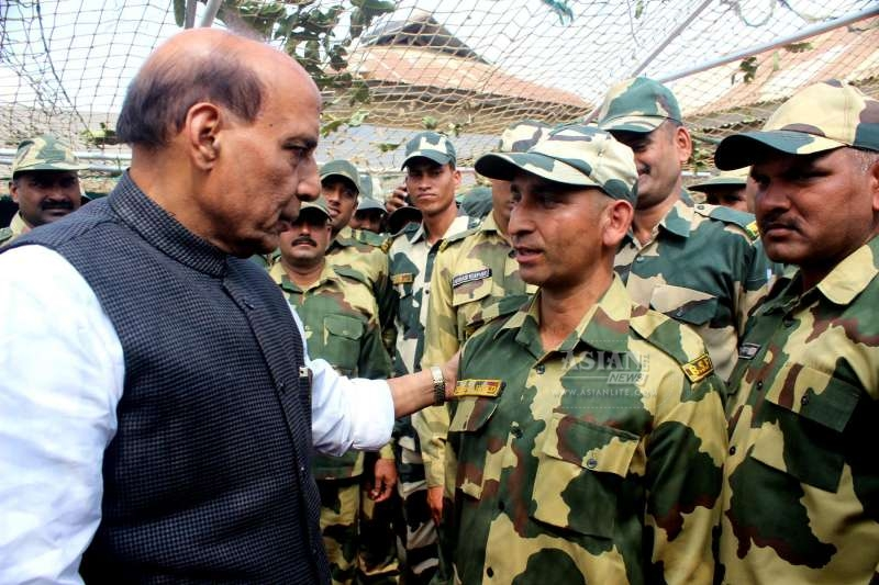 Union Home Minister Rajnath Singh interacts with soldiers during his visit the border
