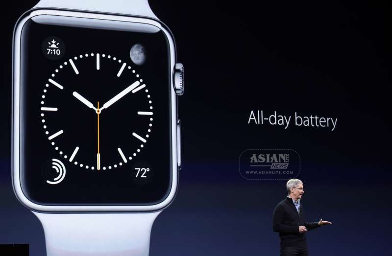 pple's CEO Tim Cook introduces the Apple Watch during an Apple event in San Francisco, the United States, March 9, 2015.