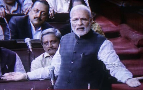 Prime Minister Narendra Modi addresses in Rajya Sabha during the budget session of the Parliament in New Delhi on March 3, 2015.