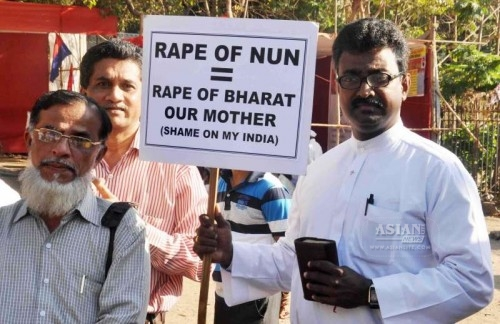 Christians stage a demonstration against the recent gang-rape of a nun in Ranaghat of West Bengal`s Nadia district; at Azad Maidan in Mumbai on March 18, 2015.