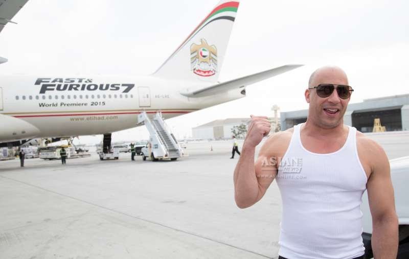 Vin Diesel welcomes Etihad Airways Flight 171 as it arrives at LAX from Abu Dhabi on the afternoon of March 18.  The Fast & Furious 777 airliner's arrival kicks off the global junke