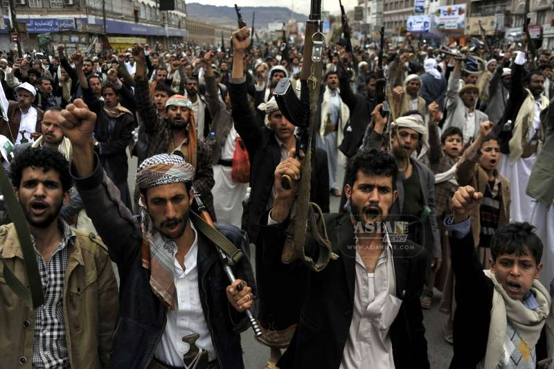 Supporters of the Shiite Houthi group shout slogans during a rally in Sanaa, Yemen (File)