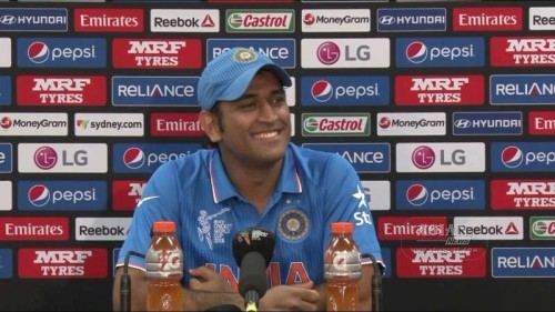 Indian captain MS Dhoni addresses a press conference