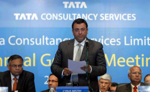 Tata Consultancy Services ( TCS) CEO N Chandrasekaran and Tata Group Chairman Cyrus Mistry during Annual General Meeting of TCS in Mumbai