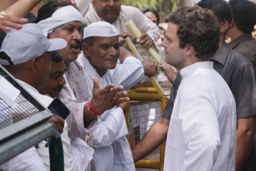 Congress vice president Rahul Gandhi meeting farmers at his residence in New Delhi on April 18, 2015.
