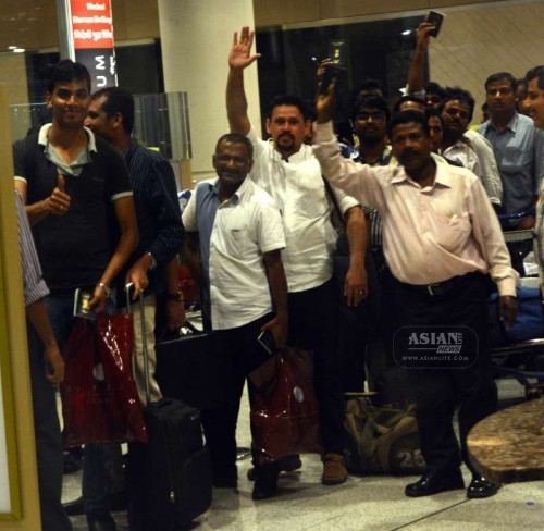 Indians stuck in violence hit Yemen arrive at the Mumbai Airport on April 2, 2015.