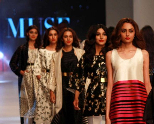 A model presents a creation by designer Muse during the Pakistan Fashion Design Council (PFDC) Sunsilk Fashion Week in eastern Pakistan's Lahore on April 19, 2015.