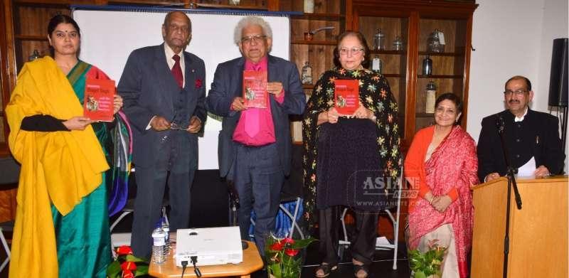 Launching the book are: Vibha Mehdiretta, Reginald Massey, Prof Lord Desai, Virendra Sandhu, Divya Mathur and Lalit Mohan Joshi