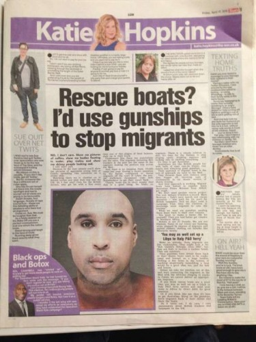 The Sun page with Katie Hopkins column