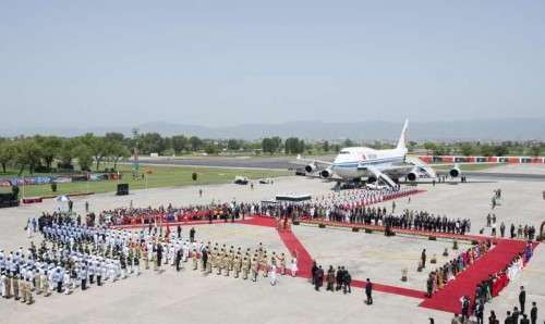 Chinese President Xi Jinping arrives in Islamabad for his state visit to Pakistan, April 20, 2015.